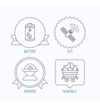 Worker minerals and GPS satellite icons vector image vector image
