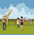 zoo cartoon people with animals scene vector image vector image