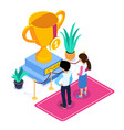 3d isometric business succes concept gold cup for vector image vector image