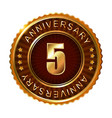 5 years anniversary golden brown label vector image vector image