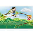 A girl and a boy at a branch of a tree vector image vector image