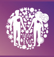 adam and eve silhouettes couple in love with vector image vector image
