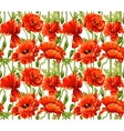 big seamless pattern red poppies realistic vector image vector image