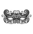 black lineart venetian carnival mask silhouette vector image vector image