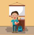 boy in classroom vector image vector image