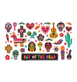 bundle of traditional day of the dead decorations vector image vector image