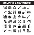 camping and outdoor adventure solid icons vector image vector image