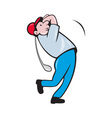 Cartoon Golfer Golfing Swinging Golf Club vector image vector image