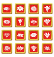 detailed flower icons set red square vector image