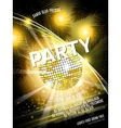 Disco Party Flyer Design with ball on vector image