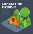 earnings from the phone concept background vector image vector image