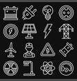 energy electricity icons set on black background vector image vector image