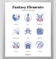 fantasy icons linecolor pack vector image