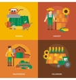 Farmer land flat icons composition vector image vector image