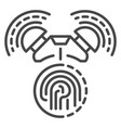 fingerprint alarm icon outline style vector image vector image