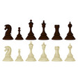 flat set of wooden chess pieces brown and vector image