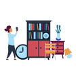 flea market woman making photo of furniture for vector image vector image