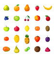 fresh fruits colorful polygonal icons collection vector image vector image