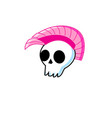 funny symbol white skull with punk mohawk vector image