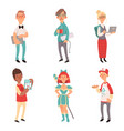 geek characters girl and boys nerd computer vector image