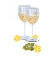 Glasses of white wine with grapes vector image