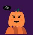 halloween pumpkin with inscription boo vector image