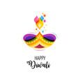 Happy diwali hindu festival banner burning diya