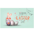 happy easter eggs and rabbits pastel color with vector image vector image