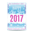 Happy New Year 2017 greeting card pink text and vector image