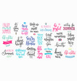 hello summer lettering typography big set vector image vector image