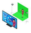 isometric weather forecast a television vector image vector image