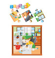 jigsaw puzzle game with kid cleaning floor vector image vector image