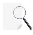magnifying glass and sheet paper vector image
