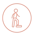 Man doing step exercise line icon vector image vector image