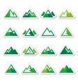 Mountain green icons set vector image vector image