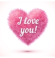Pink fluffy heart with I love you sign vector image vector image