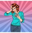 Pop Art Upset Woman with Credit Cards has Headache vector image