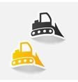 realistic design element bulldozer vector image vector image
