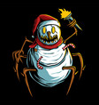scary snowman holding torch vector image