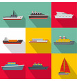 sea vessel icons set flat style vector image
