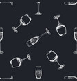 seamless pattern with hand drawn chalk glass of vector image