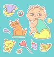 set color sketch stickers vector image