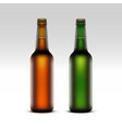 Set of Glass Brown Green Frosty Bottles with Drops vector image