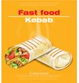 shawarma kebab fast food detailed vector image
