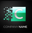silver letter c logo symbol in the green square vector image vector image