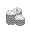 stacks of silver coins symbol flat isometric icon vector image vector image