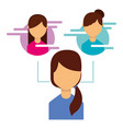 woman user avatar people social media connected vector image vector image