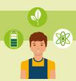 young man energy alternative battery atom vector image