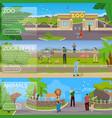 zoo flat horizontal banners vector image vector image