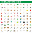 100 brainstorm icons set cartoon style vector image